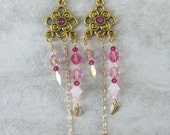Handmade gold tone swirl long earrings with pink Swarovski crystals, ready to ship, gifts for women, gifts under 50, made in Montana
