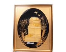 Vintage Saskatchewan Straw Art Picture Hand Cut Wheat Gold Easel Frame Handmade 3D Picture