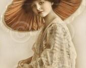 Digital Printable Real Photo Postcard Flapper Girl with Beaded Headband