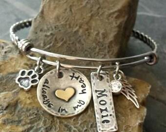 Pet Memorlal Charm Bangle-Personalized Pet Bangle-Pet Loss-Dog Lover Jewelry