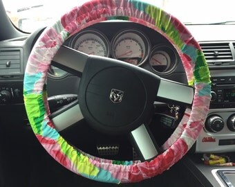 Lilly Pulitzer Steering Wheel Covers made from fabric {universal fit}