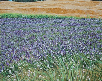 Weir's Lavender, Dundas Ontario 16 x 20, Original Acrylic Painting on canvas