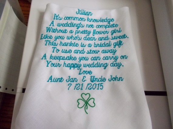Personalized Embroidered flower girl Handkerchief for Wedding