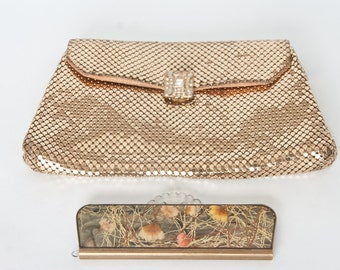 Vintage Whiting and Davis Gold Mesh Bag and Vintage Purse Comb, Vintage Gold Mesh Clutch