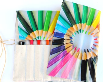 Rainbow Pencil Roll - Holds 14 Pencils / Crayons / Brushes / Pens / Hooks