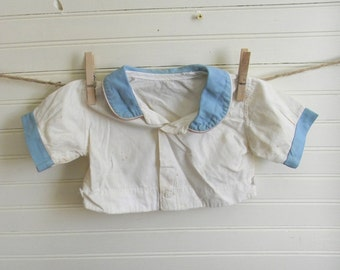 Antique Baby Clothing Top, Blue and White Baby Shirt, Vintage Cotton Infant Shirt, Handmade Vintage Baby Boy Cotton Shirt, Infant, 3-6 Mos.