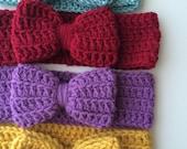 CUSTOM LISTING for KIMBERLY crochet bow, crochet ear warmer, mustard, fall, burgundy, purple, black, gray, toddler, girls