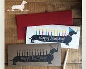 Happy Birthday Doxie. Note Card -- (Birthday Card, Sausage Dog, Weenie, Dachshund, Vintage-Style, Weiner Dog, Long Dog, Birthday Candles)