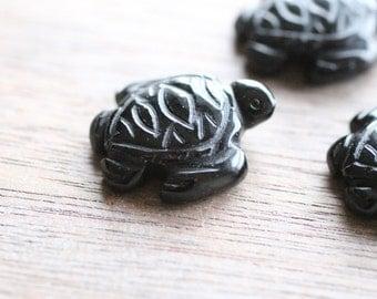 Obsidian Stone Turtle Figurine F26