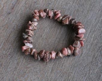 Rhodonite Chip Stretchy  Bracelet #B68
