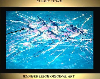 Original Large Abstract Painting Modern Acrylic Painting Oil Painting Canvas Art  Blue White COSMIC STORM  36x24 Textured Wall Art  J.LEIGH