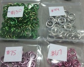 Aluminum Jump Rings, Dark and Light Pink, Silver, Green, Dark Blue, Purple. 18gauge Jumprings. 16ga Jumprings. 12ga Jump Rings. Findings