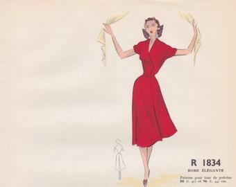 Original hand coloured illustration for French paper pattern model - 1950's Beautiful elegant red dress  # R1834
