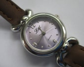 "Vintage ladies's watch ""LTD"" Quartz silver tone brown leather band  used watch"