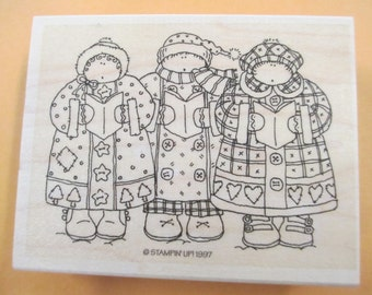 Stampin'Up Rubber Stamp Christmas Carolers  stamp For cards and scrapbooking  new never used