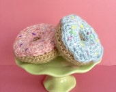 A Fun set of 2 Hand Crocheted Faux Donuts!  Pink & Blue Donuts (green stand NOT included)