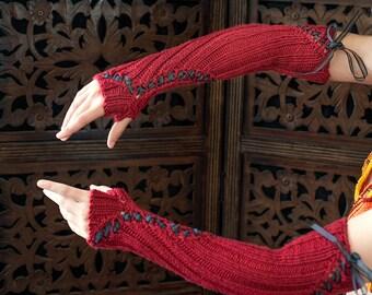 """The """"Angel's Devil"""" Fingerless Gloves, Ready to Ship"""