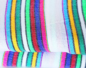 "White and colorful strips  Mexican Fabric 31"" width by one yard"