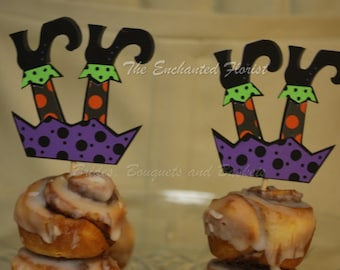 12 Halloween Witch Leg Cupcake toppers, Halloween cupcake toppers, Halloween decorations, witch cupcake toppers, Halloween cake banners