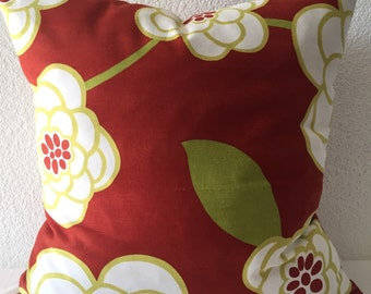 2 Pillow Covers 18x18-Free Shipping - Robert Allen Waldemere Floral in Geranium - White Floral on Red