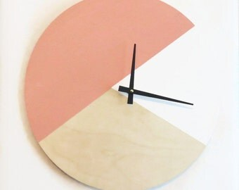 Wall Clock, Trending Minimalist Art,  Pink  Wood and White,  Housewares, Home and Living, Unique Wall  Clock