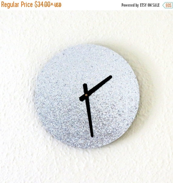Christmas sale unique wall clock silver glitter by shannybeebo Unique clocks for sale