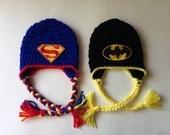 Super hero twin hats with ear flaps boys super hero hat infant superhero caps