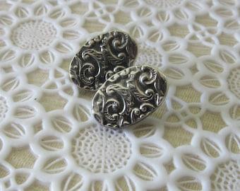 Stud Silver Embossed Earrings - Oval Stud Earrings