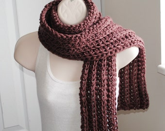 chocolate chunky crochet long open scarf 100% superwash wool 80""