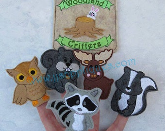 ITH Woodland Critters Finger Puppet Set with Carry Case Digital Embroidery Designs - Instant Download