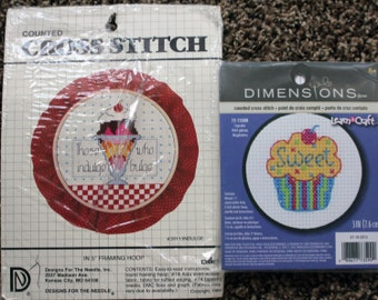 Designs for the needle Indulge and Dimensions cupcake counted cross stitch kits