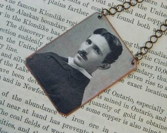 Nikola Tesla necklace mixed media jewelry science jewelry