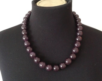 Amethyst necklace,purple stone and silver,
