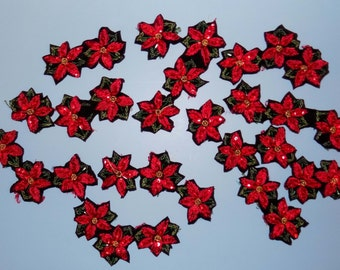 Sew-on Embroidered Red Poinsettias