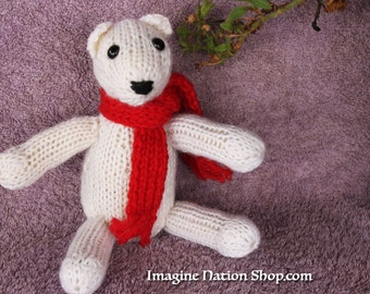Polar Bear, Plush Toy, Natural Teddy, Wool Materials, Christmas Bear