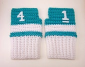 Custom Geeky Gauntlets for Vanessa, Teal and White, with Numbers 1 and 4