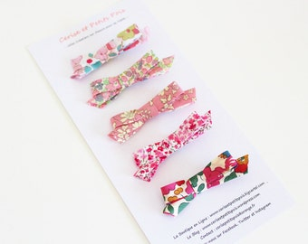 """5 Hair Clips with Bow, Liberty assortment pink crocodile clip, special Edition """"Pink October"""" - IN STOCK"""