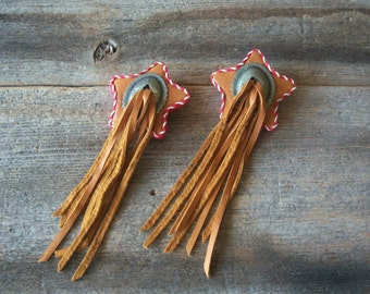 Vintage Southwestern Clip On Earrings, Star & Concho With Suede Leather Fringe, Cowgirl, Biker, Texas Star Earrings, Circa: 80's