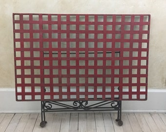 Vintage Wrought Iron Red Lattice Metal Table