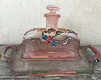 Pink Glass Hand Painted Perfume bottle and Glass Tray
