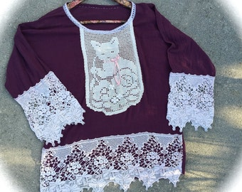 Once Upon A Time Gauze Top Kitten Lace Summer Strolling Top Size  Large