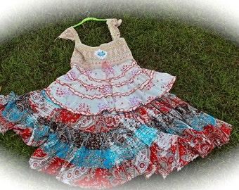 Romantic Rustic GypsyTatter Dress Fairytale Style Sweetheart Shabby Chic RuffledSwirly Dress PLUS Size 20