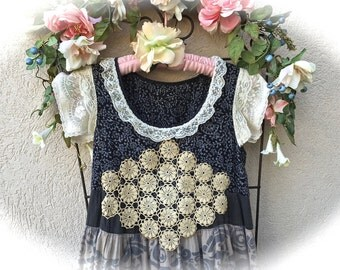 Prairie Winds Tiered Dress Boho Romantic  Shabby Chic Style XS / Girls 10-12