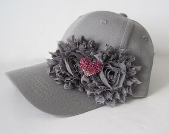 Youth Toddler Grey Baseball Cap with Charcoal Grey Flowers and a Darling Pink Rhinestone Heart Accent 3 to 10 yr old
