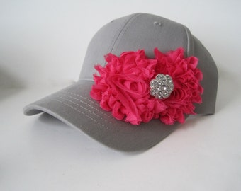 Youth Toddler Grey Baseball Cap with Bright Pink Flowers and  Rhinestone  Accent 3 to 10 yr old