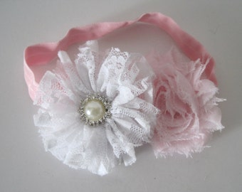 Adorable Pink and White  Newborn Baby Headband with a White Lace Flower and Pink Shabby Flower and a Pearl and Rhinestone Accent