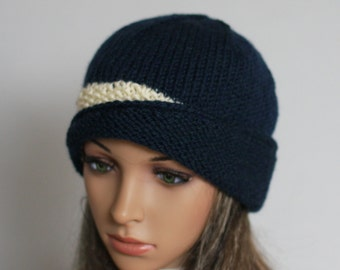Hand knitted ladies  beanie. A lovely hat .