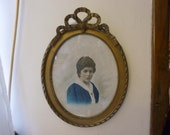 Antique Picture Frame, Oval, Gesso, French Vintage Circa 1920's