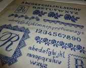Sampler, Alphabet, Blue and Buff, Large, French,