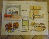 Vintage Large,French School Poster Double Sided, La Laiterie ( The Creamery)